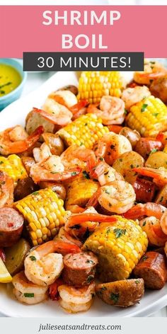 Shrimp Boil is a mixture of potatoes, corn, shrimp, smoked sausage that is boiled in a lemon broth. Then it's drained and tossed with seasoned lemon and served. It's a quick and easy dinner or perfect for serving to guests! #shrimp #recipe Sausage And Shrimp Recipes, Easy Shrimp Boil Recipe, Smoked Sausage Recipes, Seafood Boil Recipes, Shrimp Recipes Easy, Corn Recipes, How To Cook Shrimp, Fish Recipes, Shrimp Boil Seasoning Recipe