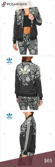 Adidas black and white floral jacket 🖤🖤🖤Can't go wrong in this black and white adidas floral jacket 🖤🖤🖤 adidas Jackets & Coats