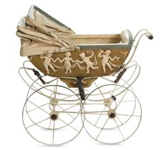 Early century German doll's pram with dancing cherubs. Porcelain handle and folding hood. It was made to fit to dolls Vintage Pram, Vintage Dolls, Pram Stroller, Baby Strollers, Child Doll, Baby Dolls, Muebles Estilo Art Nouveau, Prams And Pushchairs, Baby Buggy