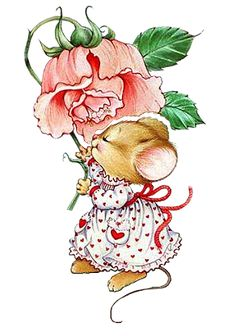 Vintage mouse and rose illustration Maus Illustration, Illustration Mignonne, Animal Drawings, Cute Drawings, Decoupage, Art Mignon, Mouse Pictures, Pet Mice, Cute Mouse