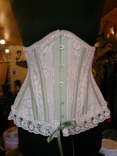 Green silk and cluney lace hip gore underbust corset