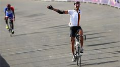 Wolfgang Sacher of Germany crosses the finish line in the men's Individual C 4-5 Road Race on Day 8 of the London 2012 Paralympic Games at Brands Hatch. #Inspiration