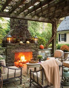 Our October issue brings autumn to life, with a bevy of pumpkins, gourds, and fall floral adding beauty to classic interiors and a delectable harvest menu drawing loved ones outdoors for a festive repast shared under the stars. Outdoor Rooms, Outdoor Gardens, Outdoor Living, Outdoor Decor, Outdoor Furniture, Outdoor Patios, Outdoor Kitchens, Outdoor Ideas, Outdoor Bars