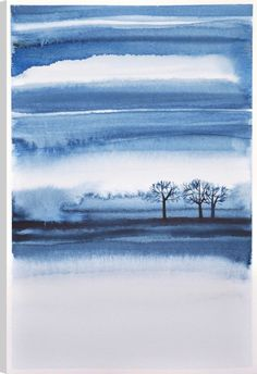 Wilderness V, Abstract Art, Printed Canvas Wall Art Watercolor Paintings Abstract, Watercolor Artists, Watercolor Landscape, Abstract Art, Art Paintings, Watercolor Canvas, Watercolors, Winter Painting, Blue Painting
