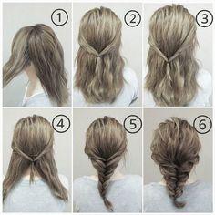 Bước 1: Tách 2 phần tóc 2 bên đầu ra. Bước 2: Buộc 2 phần tóc đó lại phía sau đầu Bước 3: Xoắn lận tóc vào trong cho gọn gàng hơn. Bước 4: Chia đôi phần tóc còn lại. Bước 5: Bắt tóc lần lần như bước 1 rồi buộc lại sau đầu để tạo kiểu như tóc được tết lại. Bước 6: Kéo tóc tạo độ phồng rồi xịt keo giữ nếp.