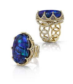 18k gold and diamond blue opal Royal ring by Erica Courtney®