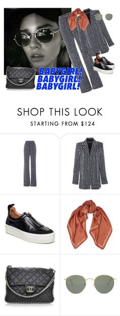 """""""Untitled #288"""" by emilienedergaard ❤ liked on Polyvore featuring Naeem Khan, Sandro, Chanel and Ray-Ban"""