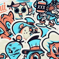 """I'm super glad to announce that my """"TLP"""" stickers pack is available right now on my shop 🙂 I made this project in collaboration with Ton Logo Partout, a french print factory based in Gap which is specialized […] Graffiti Doodles, Graffiti Characters, Bright Art, Doodle Art, Sticker Design, Graphic Illustration, Vector Art, Art Drawings, Character Design"""