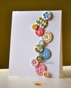 Idéia cartão aniversário diy botões