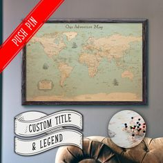 Elite framed push pin board personalized with your name world map elite framed push pin board personalized with your name world map with cities in vintage style pin boards gumiabroncs Choice Image