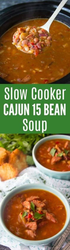 This slow cooker Cajun 15 Bean Soup Recipe is hearty, spicy and just the perfect winter stick-to-your-ribs comfort dish. Cajun 15 Bean Soup Recipe, Cajun Chili Recipe, Bean Soup Recipes, Beans Recipes, Slow Cooker Recipes, Crockpot Recipes, Cooking Recipes, Healthy Recipes, Cookbook Recipes