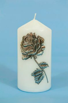 Classic Pillar candle with hand crafted Sandy Griffiths Tin Foil Art, Aluminum Foil Art, Aluminum Crafts, Metal Crafts, Pewter Art, Pewter Metal, Decoupage, Metal Embossing, Metal Artwork