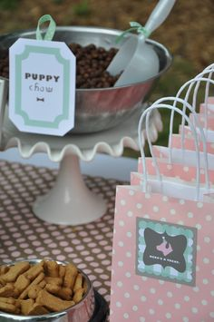 The Little Nook: Perfect Puppy Party... pup cakes.... come. Sit. Stay.... grooming station.... too cute!