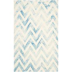 Safavieh Hand-Tufted Dip Dye Ivory/ Turquoise Wool Rug (6' x 9')