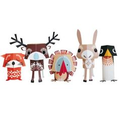 Paper Toys - This sweet little gang of festive animals make a great project for kids and will keep them busy for hours ;o)