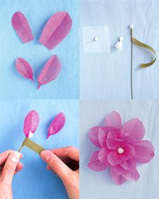 Just might hav eto do tissue paper flowers like my grandma did e how to make flowers martha stewart weddings mightylinksfo