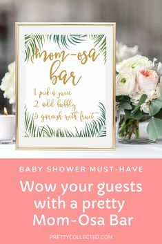 OMG love this Mom-Osa Bar Sign! This tropical leaves design is so pretty. It's perfect for our luau baby shower! Coral Baby Showers, Luau Baby Showers, Flamingo Baby Shower, Flamingo Party, Gender Reveal Themes, Baby Shower Gender Reveal, Fun Baby Shower Games, Tropical Party, Luau Party
