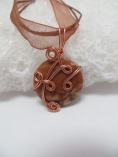 Copper Wire Wrapped Pendant Sierra Agate Wire by ArtfullyWrapped, $30.00