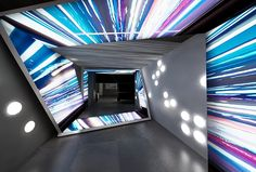 """Hyperdrive lighting showroom entrance- Lets make it social media interactive"" TriadCreativeGroup.com"
