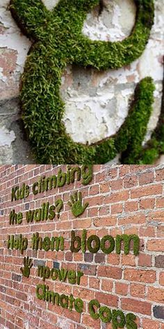 Moss graffiti: It's a spin off from the guerrilla gardening movement and brands such as Npower - looking for environmentally friendly graffiti alternatives - are producing 'mossaging' campaigns using nothing but moss.
