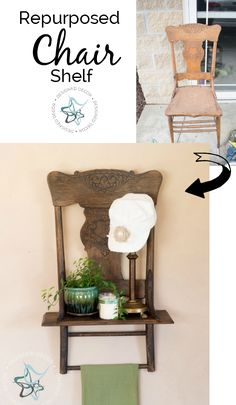 How to tuen an old chair into a repurposed chair shelf with a little imagination and a few power tools- www.designeddecor.com