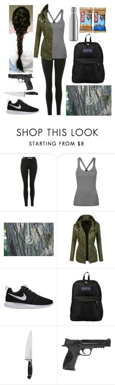 """""""Ready for the apocalypse"""" by harrypotter-gurl ❤ liked on Polyvore featuring Ivy Park, Topshop, LE3NO, NIKE, JanSport, Zwilling and Smith & Wesson"""