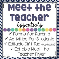 """This resource includes all of the essential forms you need to make your Meet the Teacher night, Open House, or Back to School night a true success! Just print and duplicate the pages you need. Make your parents and students feel welcome and excited about the new school year with the editable Meet the Teacher letter and adorable """"Pop Rocks"""" gift tag. (This year is going to ROCK!"""