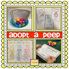 Adopt A Peep - kids are responsible for caring for a marshmallow peep for the day.  Includes Birth Certificate, Peep Baby Book. Official letter from the Easter Bunny, Letter to Parents, and more!