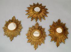 Set de 4 espelhos em madeira gilded a ouro representando o sol do sec.20th, 47cm ( o maior ), 4,640 USD / 4,110 EUROS / 16,680 REAIS / 29,710 CHINESE YUAN https://soulcariocantiques.tictail.com