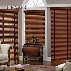 "Graber Traditions 2"" Wood Blinds in Cappuccino. These blinds are crafted from the finest North American hardwoods and are offered in a variety of stained or painted finishes at Blinds.com."
