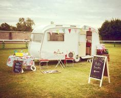 Vintage caravan photobooth , also used for children's activities / glitter tattoos / sweet shop