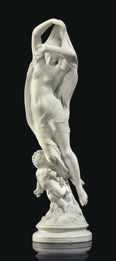 A FRENCH MARBLE GROUP EMBLEMATIC OF NIGHT - AFTER THE MODEL BY JAMES PRADIER (1790-1852), LATE 19TH CENTURY - 105.5 cm.