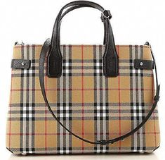 3d9a02ae8b55  1675 - Burberry Medium Banner Vintage Check Canvas   Leather Tote