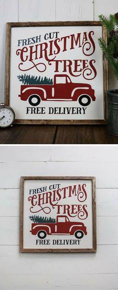 Fresh Cut Christmas Tree Sign, Fresh Cut Trees Sign, Christmas Decorations, Christmas Decor, Wood Christmas Sign, Farmhouse Christmas Sign,#christmasdecor #ad #farmhousedecor