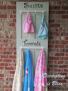 towel racks for the pool | old door into suit/towel rack