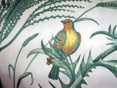 The Bird and Thistle toile is a Winterthur fabric licensed for reproduction by Brunschwig & Fils. Here the greens are clean and fresh, contrasting with a crisp white background.