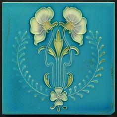TH2994 Unusual Art Nouveau Majolica Tile Gibbons Hinton Stourbridge c.1910 #ArtNouveau