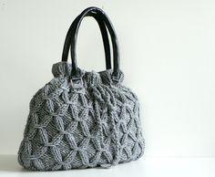 SALE OFF 20%, NzLbags - Handmade Knit bag, christmas gifts, knitted handbag, leather shoulder bag - Nr-0224. $95.00, via Etsy.