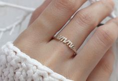 30% OFF -- Dainty Name Ring - Stackable Name Ring - Custom Name Ring - Personalized Names Ring in Sterling Silver - Bridesmaid Gift