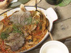 GULASZ Z BOCZNIAKÓW Japchae, Paella, Chili, Stuffed Mushrooms, Pork, Food And Drink, Beef, Dinner, Cooking