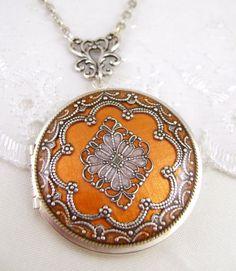 Bronze/Silver Filigree Locket, Vintage Locket,Filigree Diamond Locket, Photo Locket, Holiday Gift For Her,  Wedding Locket Picture Locket  #LitaPalas