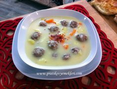Ekşili Sulu Köfte Turkish Recipes, Recipe For Mom, Dessert, Cheeseburger Chowder, Tart, Food And Drink, Healthy Recipes, Cooking, Decor
