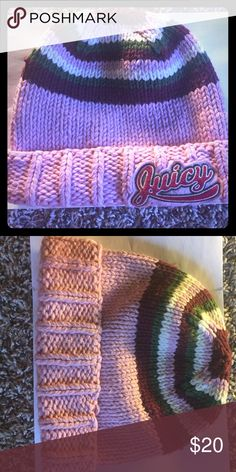 Juicy Couture Multi-Colored Beanie Authentic Juicy beanie with thick yarn with striped white, green, burgundy and pink colors. 100% wool material. Juicy Couture Accessories Hats