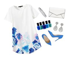 """""""Rain or Shine #34"""" by m-phil ❤ liked on Polyvore featuring Semilla, Zoya, LULUS, floral, Blue, dress and contestentry"""