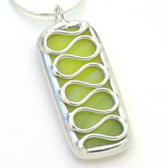 Lime Squiggle  Stained Glass Necklace by BeckySharpDesigns on Etsy, $16.00