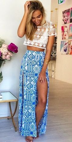 Blue Geometric Floral Print Thigh High Side Slits Sexy Skirt