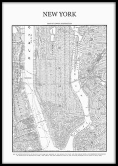 Poster / affisch med karta över Manhattan New york. Vi har flera posters med New York, Manhattan kartan. på www.desenio.se