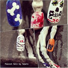 Halloween Nail Art 2014 at Peacock Gels by Tamara!! Mummy, Bones, Blood, Sugar Skulls, and Glitter Cats Nail Art Manicures