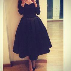 Black Short Prom Dresses,Evening Dresses, Long Sleeves V-Neck