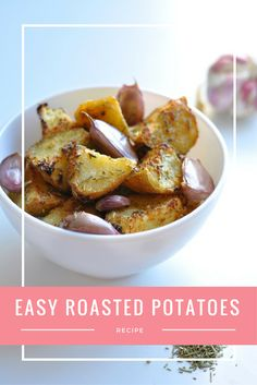 Easy Roasted Potatoes with Garlic and Rosemary Recipe   No doubt about it, these really are the best roasted potatoes in the world! They're made with healthy olive oil and take less than an hour to make. Definitely going to make these for Thanksgiving and Christmas!